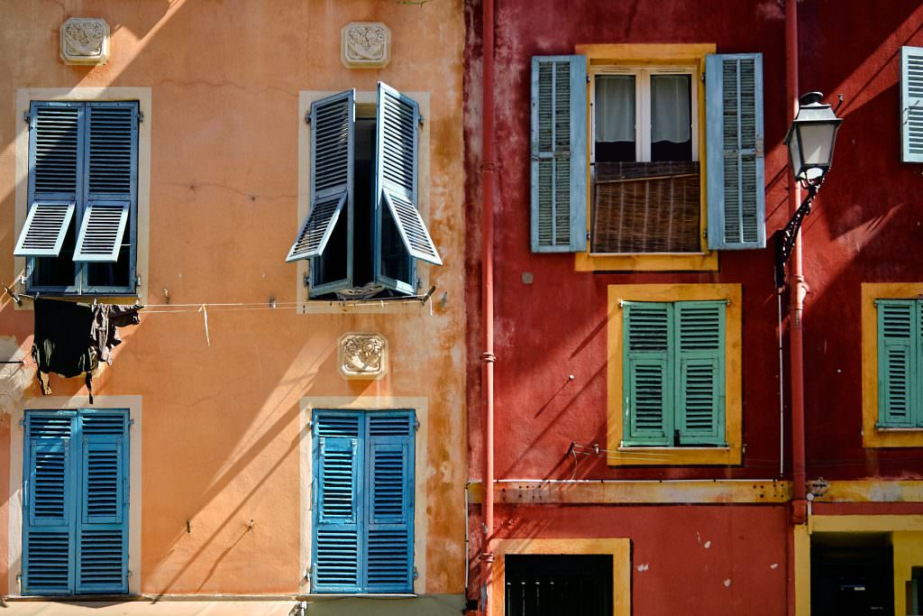 Colorful facades of the Old Nice - France