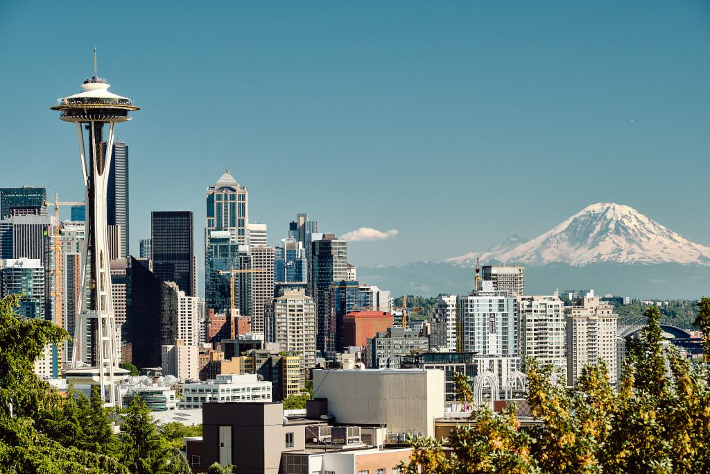 Space Needle and Mount Rainier - Seattle, WA - USA