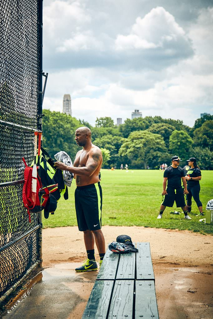 Baseball player in Central Park - New York - USA