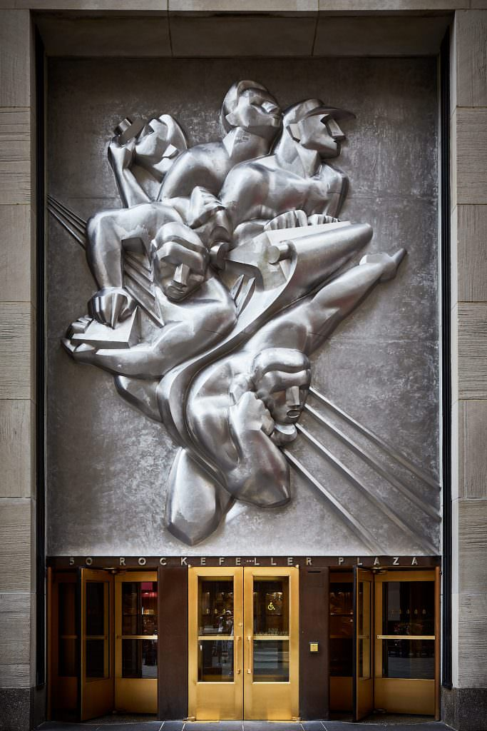 Rockefeller Plaza Building entrance - New York - USA
